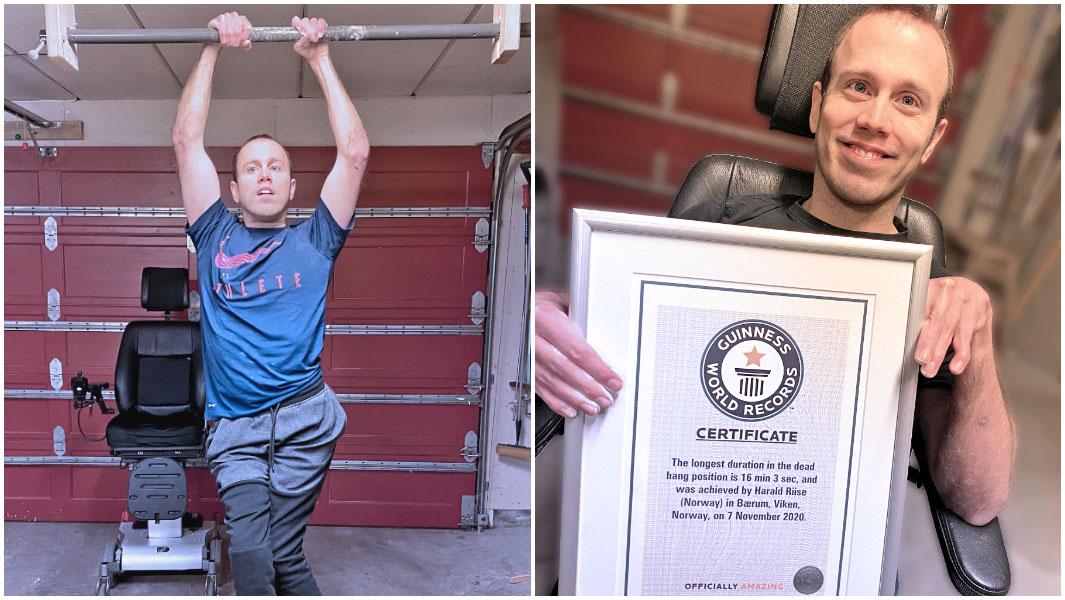 Dead hang 16 menit, Pria Norwegia Pecahkan rekor