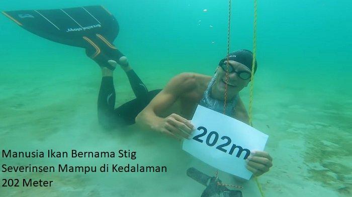Manusia Ikan Bernama Stig Severinsen Mampu di Kedalaman 202 Meter